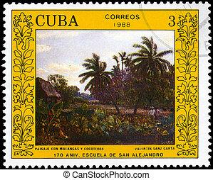 cuba, -, 1988, malangas, environ, paysage