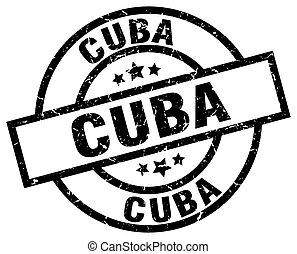 Cuba black round grunge stamp