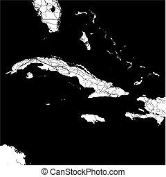 Cuba, Caribbean, Monochrome Map Artprint