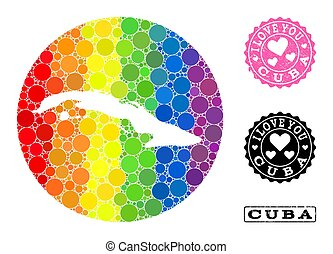 cuba, carte, rond, mosaïque, gratté, arc-en-ciel, lgbt, amour, timbre, trou