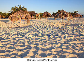 cuba., cayo, straw., sirena., playa, parasole, largo.