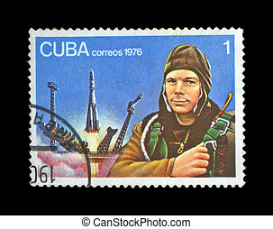 CUBA - CIRCA 1976: cancelled stamp printed in CUBA, shows first