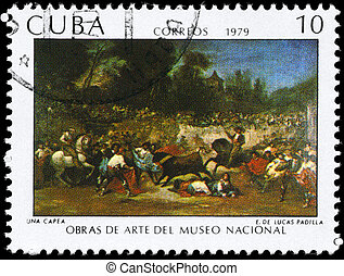 "CUBA - CIRCA 1979: A Stamp printed in CUBA shows the Painting ""A Robbery"" of the artist Eugenio Lucas Padilla (1824-1870), from the series ""Paintings in the Natl. Museum of Art"", circa 1979"