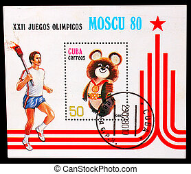CUBA - CIRCA 1980: A stamp printed in CUBA, devoted Olympic Games Moscow (1980), person carries torch with fire, bear symbol, circa 1980