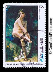 """CUBA - CIRCA 1980: A stamp printed in CUBA, show artist Williams A. Bouguereau """"Innocence"""", naked young girl, circa 1980"""
