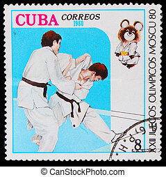 CUBA - CIRCA 1980: A stamp printed in CUBA, devoted Olympic Games Moscow (1980), fight judo ,athlete shall throw technique, circa 1980