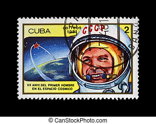 CUBA - CIRCA 1981: cancelled stamp printed in CUBA, shows first