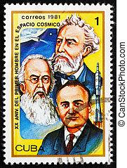 cuba, -, circa, 1981:, een, postzegel, bedrukt, in, de,...