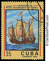 CUBA - CIRCA 1982: A stamp printed in Cuba shows ship La Pinta, devoted Discovery of America, circa 1982