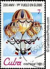 CUBA - CIRCA 1983: a postage stamp printed in Cuba commemorative of the 200 anniversary of the first balloon flight, circa 1983.