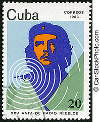 CUBA - CIRCA 1983: A stamp printed in CUBA shows portrait of Ernesto Guevara de la Serna (Che Guevara), 25th Anniversary of Radio Rebelde, circa 1983