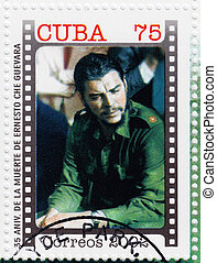 CUBA - CIRCA 2002 : stamp printed in Cuba, anniversary of the death of Che Guevara in Bolivia, Circa 2002