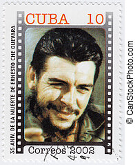 CUBA - CIRCA 2002: Stamp printed in Cuba, anniversary of the death of Che Guevara in Bolivia, Circa 2002