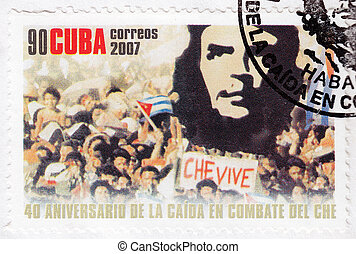 CUBA - CIRCA 2007 - Stamp printed in Cuba, anniversary of the death of legendary Che Guevara in Bolivia, Circa 2007