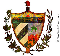 cuba coat of arms - old isolated over white coat of arms of...