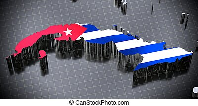 Cuba - country borders and flag - 3D illustration