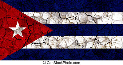 cuba country flag painted on a cracked grungy wall