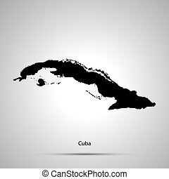 Cuba country map, simple black silhouette on gray