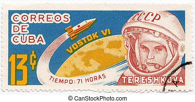 cuba-, femme, cosmonaute, cuba, timbre, :, valentina, tereshkova, 1963, imprimé, environ, spectacles, premier