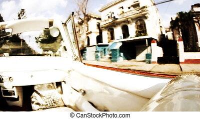 cuba, filmé, havane, voiture classique, rues, cabriolet