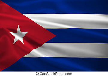 Cuba flag blowing in the wind