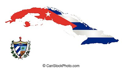 Flag and national emblem of the Republic of Cuba overlaid on outline map isolated on white background
