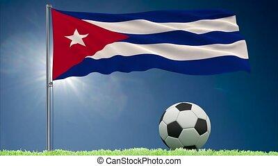 Cuba flag fluttering and football rolls - Flag of Cuba...