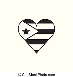 Cuba flag icon in a heart shape in black outline flat design