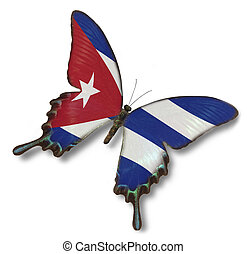 Cuba flag on butterfly isolated on white