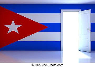 Cuba flag on empty room