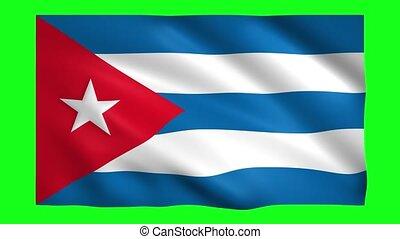 Cuba flag on green screen for chroma key