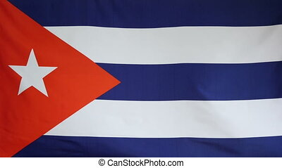 Cuba Flag real fabric Close up 4K - Textile flag of Cuba...