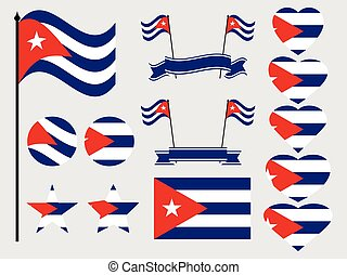 Cuba flag set. Collection of symbols, flag in heart. Vector illustration