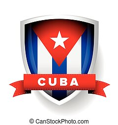 Cuba flag vector shield