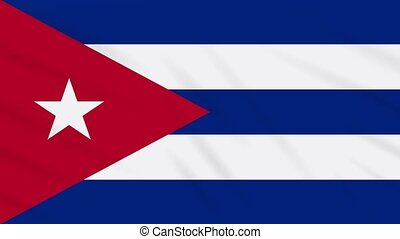 Cuba flag waving cloth, background loop - Cuba flag waving...