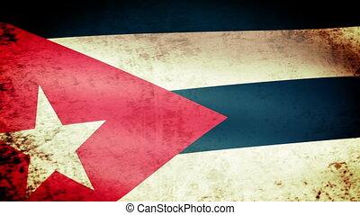 Cuba Flag Waving, grunge
