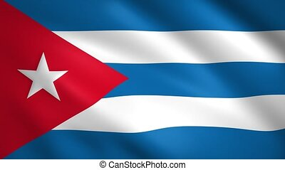 Cuba flag waving in the wind