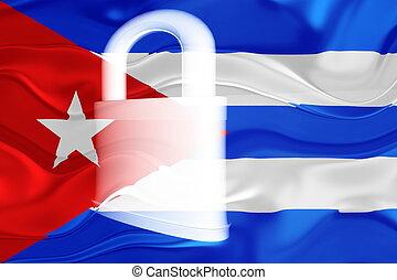 Cuba flag wavy security - Flag of Cuba, national symbol...