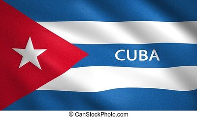 Cuba flag with the name of the country