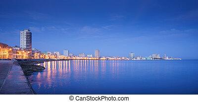 cuba, havanna, la habana, zee, skyline, nacht, de caraïben