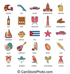 Cuba icon set, cartoon style