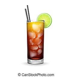 Cuba Libre cocktail - Vector Cuba Libre cocktail with rum,...