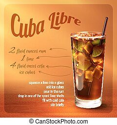 Cuba libre cocktail recipe with drink in glass with drinking...