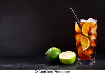 Cuba Libre cocktail with rum, cola and lime