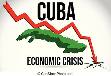 Cuba Map Financial Crisis Economic Collapse Market Crash Global Meltdown Vector.