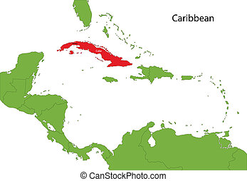 Cuba map - Location of Cuba on the Caribbean