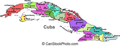 Cuba map over white