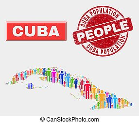 Cuba Map Population People and Corroded Seal - Demographic ...