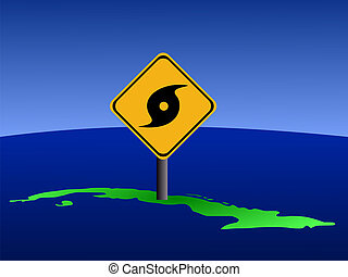 Cuba map with hurricane sign