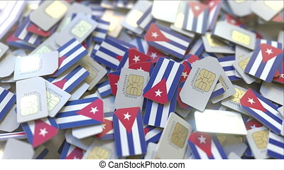 cuba., multiple, mobile, cubaine, cartes, drapeau, animation, conceptuel, télécommunications, sim, 3d